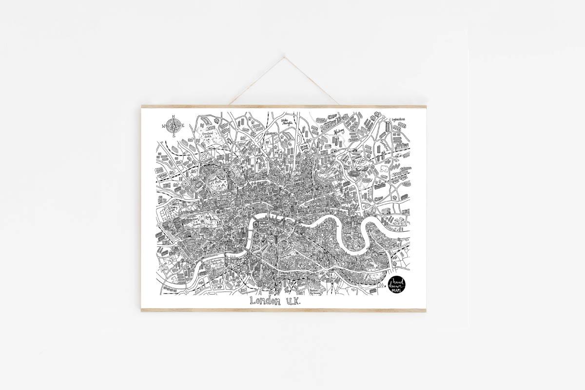 London Map Print Hand Drawn Maps