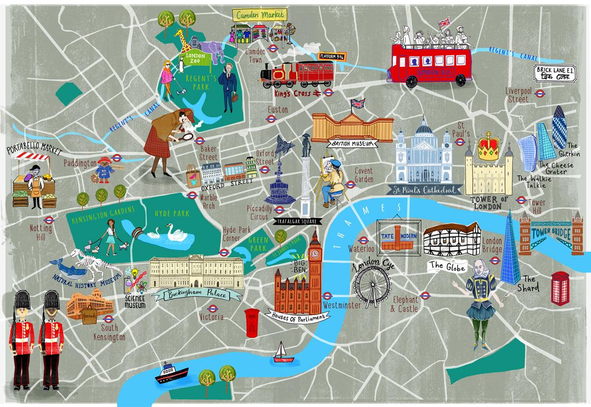 Tourist Map London.London Tourist Map Hand Drawn Maps