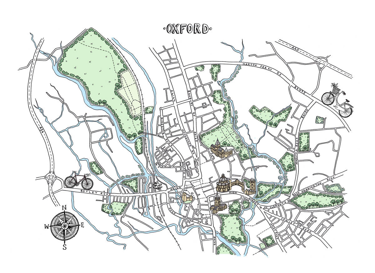 Map Of Uk Oxford.Oxford Map Print